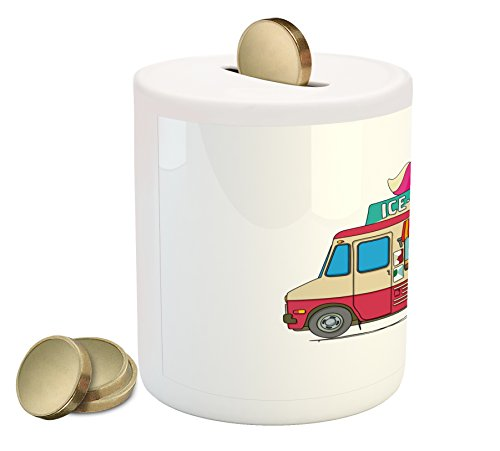Ambesonne Truck Piggy Bank, Ice Cream Truck Colorful Illustration Business Idea Cartoon Style Cutaway Vehicle, Printed Ceramic Coin Bank Money Box for Cash Saving, Multicolor