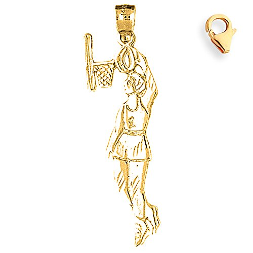 Basketball Player Charm Gold Plated - Gold-Plated 925 Silver 43mm Basketball Player 8.25