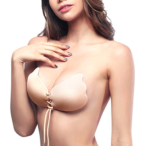 Adjustable Bra - SAWMONG Backless Strapless Bra Self Adhesive Silicone Invisible Push up Bra