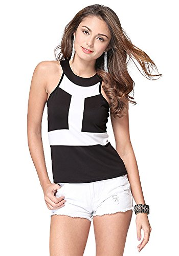 MISSEUROUS Women's High Stretch Round Neck I-shaped Hit Color Short Tunic Top (XXL, Black)