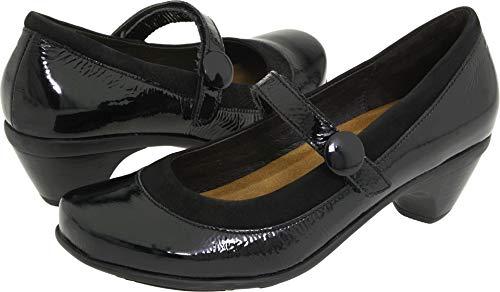 (Naot Women's Trendy Dress Pump,Black Velvet Nubuck/Black Crinkle Patent Leather,38 EU/6.5-7 M)