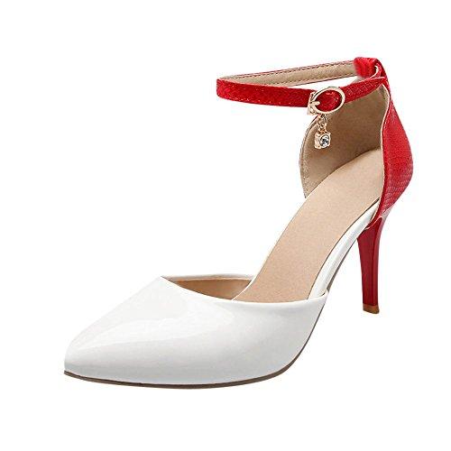 Carolbar Donna Punta A Punta Colori Assortiti Sandali Con Tacco A Spillo In Vernice Con Vernice Stiletto Rosso + Bianco