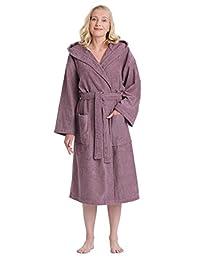 Arus Women's Classic Hooded Bathrobe Turkish Cotton Terry Cloth Robe