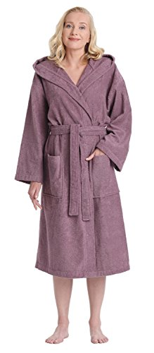 Hooded Terry Cloth Robe - Arus Women's Classic Hooded Bathrobe Turkish Cotton Terry Cloth Robe (L/XL,Plum)