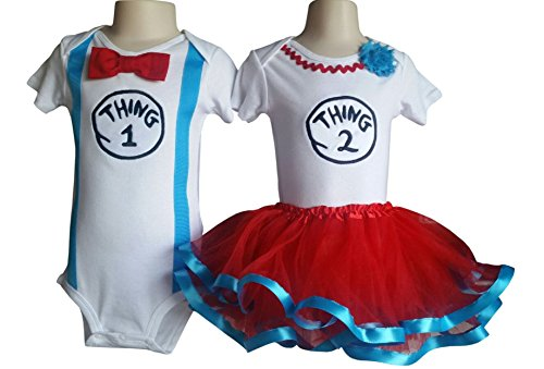 Thing 1 Thing 2 Tutu (Boy Girl Twin Outfits Thing 1 and Thing 2 Tutu Perfect Pairz USA Made Outfit (12M Short)