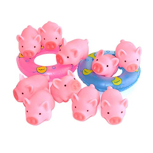 A Little Lemon Rubber Pig Baby Bath Toy for Kid,Baby,Children,10 PCS