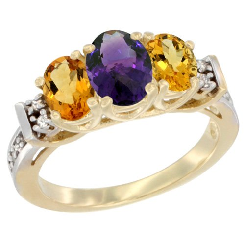 - 14K Yellow Gold Natural Amethyst & Citrine Ring 3-Stone Oval Diamond Accent, size 9