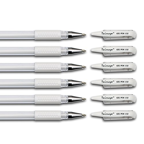 Dainayw White Gel Pen Set 0.8mm line for Artists Dark Papers Drawing Design Art Supplies, 6 Pieces Fine Point Sketching Pens