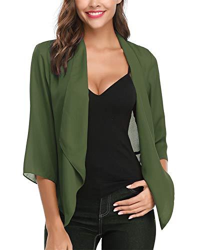 Hawiton Women's Open Front Light Cardigan 3/4 Sleeve Thin Chiffon Blazer Army Green