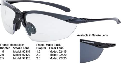 Crossfire Eyewear 92125 2.5 Diopter Sniper Safety Glasses with Black Frame and Smoke Lens