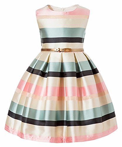 Big Girls Kids Princess Formal Special Occasion Tops Flower Girl Dresses For Wedding Pageant Party Knee Sleeveless Summer Sundress Size 8 9 16 Gold Stripe Knee Block Tulle Stripe (Ivory, 160)