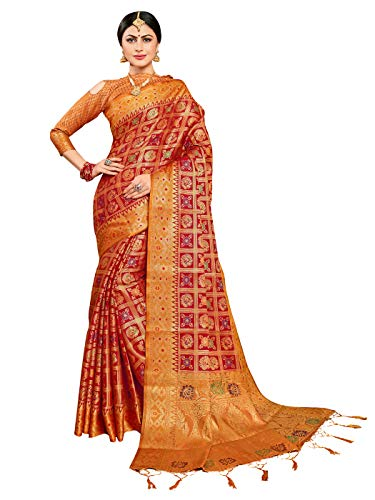 Sarees for Women Banarasi Patola Art Silk Woven Saree l Indian Ethnic Wedding Gift Sari with Unstitched Blouse Red