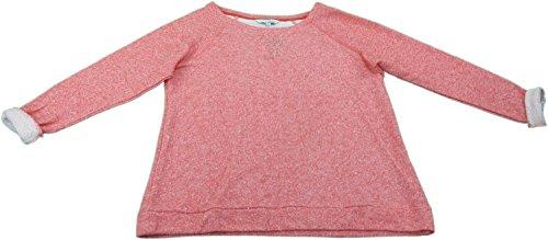 Ellen Tracy Ladies Size Medium Embellished Soft Roll Sleeve Sweatshirt Coral