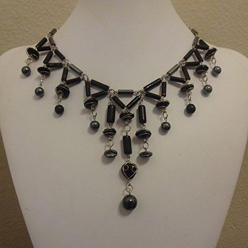 (Hematite & Black Wire Wrapped Bead Cascading Bib Statement Necklace)