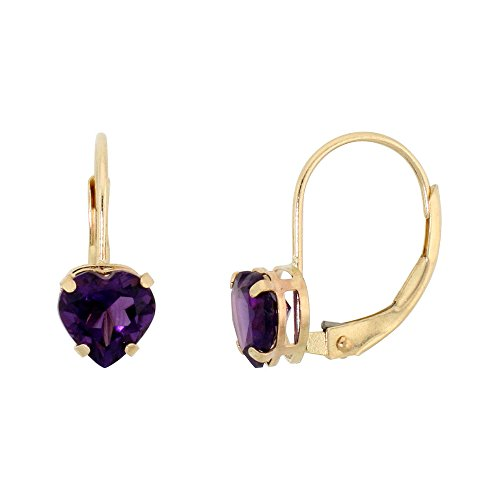 10k Yellow Gold Natural Amethyst Leverback Earrings 6mm Heart Shape 1.5 ct, 9/16 ()