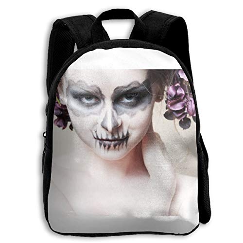 Liumong Halloween-Zombie Bride Makeup Girl Children Multi-Function Mini Casual Outdoor Travel Book Middle School Backpack 13 Laptop Computer Bag Pocket -