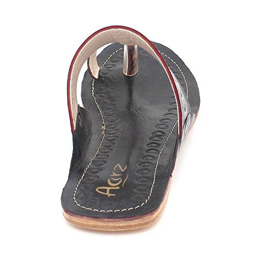 AARZ LONDON Womens Ladies Authentic Open Toe Kolhapuri Leather Chappal Casual Comfort Slip-On Flat Sandals Shoes Size Black 4gjc5O