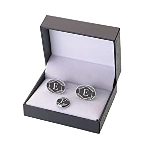Lillian Rose Black Monogram Letter E Cufflinks Tie Tack Set