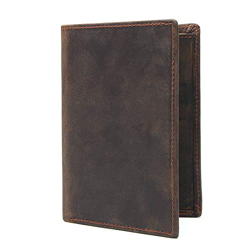 Color : Dark Brown WENNEW Mens Unfeigned Leather RFID Blocking Bifold ID Wallet Slight Credit Card Holder Minimalist