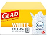 Glad White Garbage Bags - Tall 45 Litres - Febreze Fresh Clean Scent, 60 Trash Bags