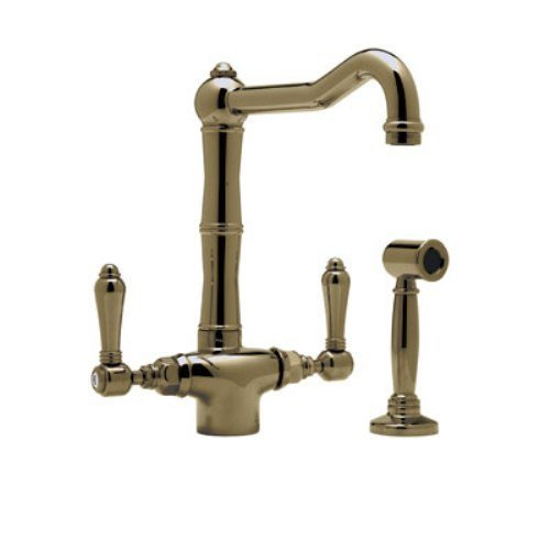 Rohl A1679LMWSTCB-2 Country Kitchen Single Hole Faucet with Metal Levers Sidespray and Column Spout, Tuscan Brass - Nickel Country Single Hole