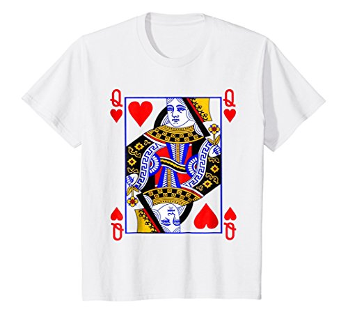 Kids Queen of Hearts Playing Card Poker Card Costume Tee Shirt 12 White