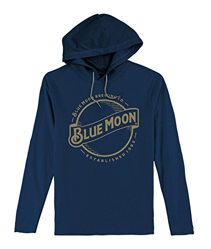 (Tee Luv Blue Moon Hooded Tee Shirt - Long Sleeve Hooded Blue Moon Beer Shirt (MD))
