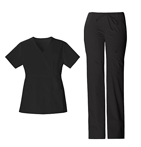 Yoke Pintuck - Cherokee Luxe Women's Crossover V-Neck Pin-Tuck Top 1999 & Women's Drawstring Cargo Pant 21100 Scrub Set (Black - Large/Large Tall)