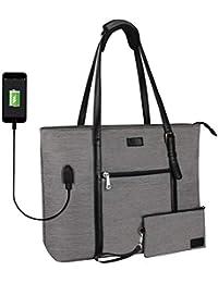 Laptop Tote Bag, Large Women Work Bag Purse USB Teacher Bag Fits 15.6 Inch Laptop