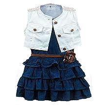 Happy Little Girls' 2Piece White Vest and Denim Cake Dress with Belt Set 2T blue
