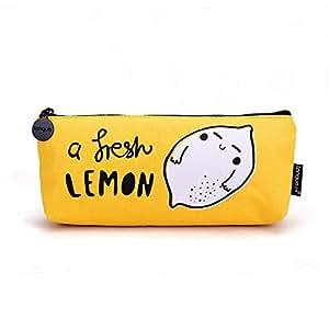 Pencil Case A Fresh Lemon Canvas Zipper Pen Pencil Cases for School