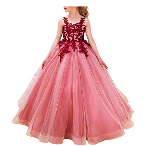 Luxury Burgundy Ball Gown Pageant Dresses for Girls Long Flower Puffy Tulle Prom Wedding Birthday Party 2-15Y]()