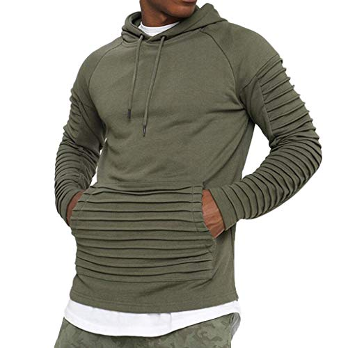 Pleats Slim Fit CasualHoodie Fashion Men's Autumn Winter Long Sleeve Top Blouse for $<!--$7.09-->