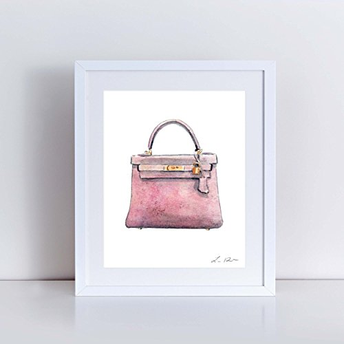 Hermes Kelly Bag Pink Art Print Hermes Handbag Art Hermes Watercolor Painting Fashion Illustration Fashion Art Print Vintage Hermes Preppy Art Print Canvas Art