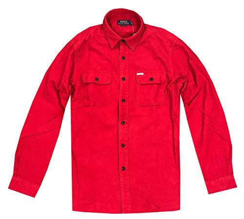 Polo Ralph Lauren Mens Classic fit Flannel Shirt (XL, Red)
