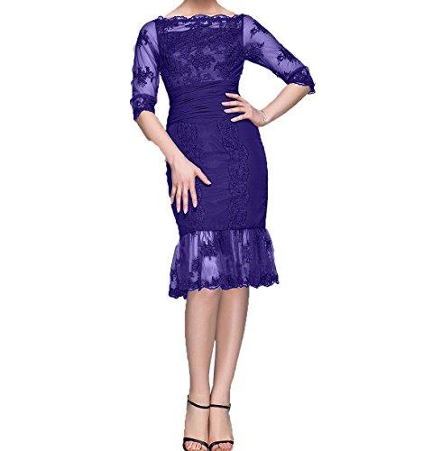 Abendkleider Partykleider Regency Brautmutterkleider Spitze Ballkleider Langarm mit Etuikleider Damen Knielang Charmant qwx4T11