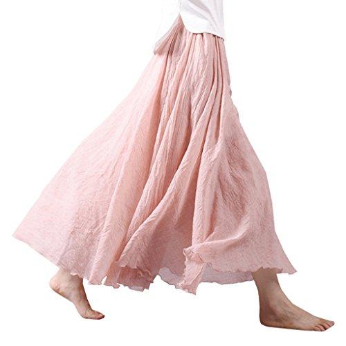 OMSLIFE 2018 Femmes Coton Lin Long Maxi Jupe Bohme Style lastique Bande de Taille Rose