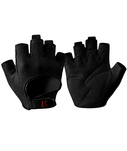 iiSPORT Mens Weightlifting Gloves, Workout Gym Fitness & Cross Training Gloves Black M