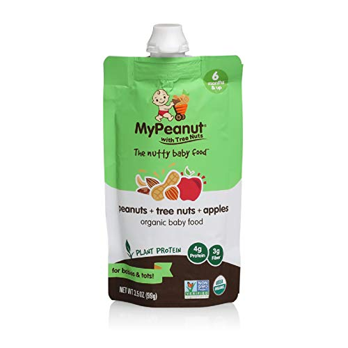 MyPeanut Baby Food, Organic Stage 2 Peanut, Tree Nut and Apple Puree for Introducing and Feeding Babies and Toddlers Nuts, May Reduce the Risk of Peanut Allergy, BPA Free 3.5 oz Pouch, 6 Pack - Nut Baby Food