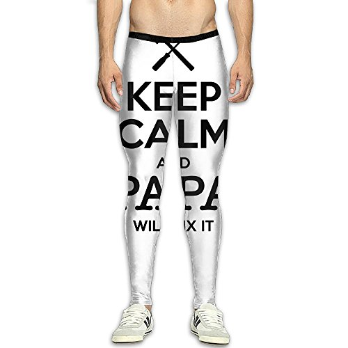 S A Mens Keep Calm And Papa Will Fix It Compression Pants Sport Tight Leggings Elastic Waist Baselayer Yoga Sports Trousers