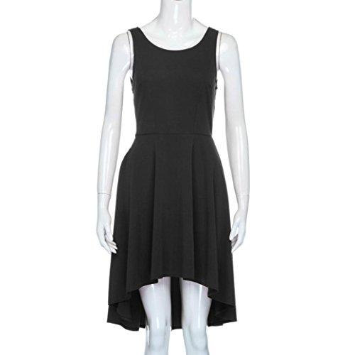 Longra ♣Verano sin mangas mini vestido de playa / fiesta / todos los días Negro