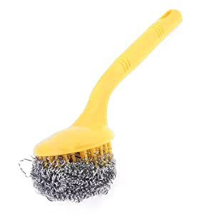 Pan Pot Bowl Cleaner Tool Steel Wire Ball Brush Yellow