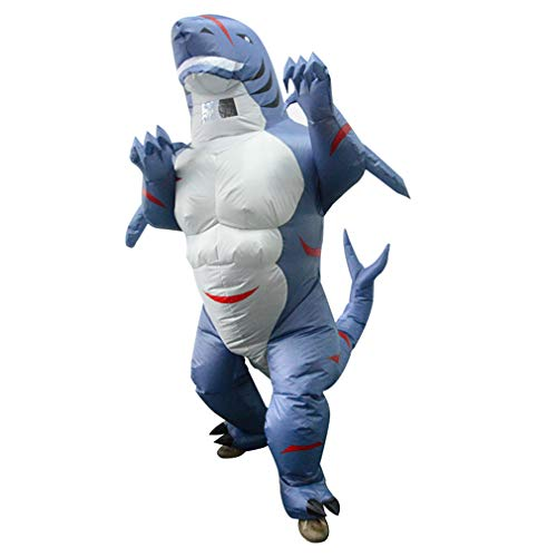 HHARTS Adult Shark Inflatable Costume Animal Blow Up Muscle Shark Costume for Fancy Dress Halloween Cosplay Party Christmas