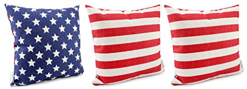 AuldHome American Flag Pillow Covers (Set of 3, 16 x 16 Inch); Vintage Rustic Farmhouse Style Throw Pillow Cases (Pillow Star American)