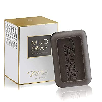 Premier Dead Sea Classic Mineral MUD and salt Soap, for Healthy looking skin. For all Skin Types. Natural, Therapeutic and Antibacterial, Helps with Acne, Eczema and Psorias , 3.4 Fl Oz