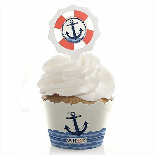 Ahoy Nautical Cupcake Wrapper Party