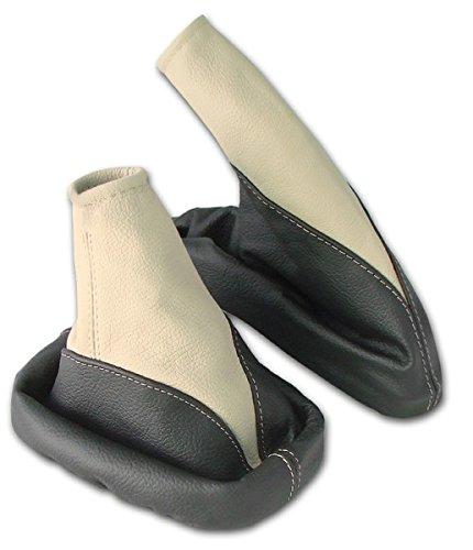 L/&P A099-4 Schaltsack Schaltmanschette Handbremsmanschette aus 100/% ECHTLEDER Leder in Schwarz-Beige