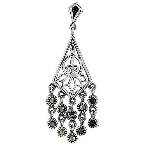 (Sterling silver Marcasite chandelier Dangle Drop Earrings Fleur De Lis & Octopus 1 3/4 inch long)