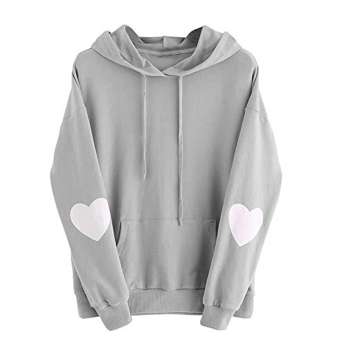 Ulanda Women's Heart Printing Elbow Patch Long Sleeve Crewneck Hoodie Sweatshirt Jumper Hooded Pullover Tops (Black Tek Patch Hooded Sweatshirt)