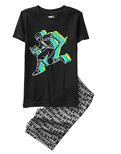 Crazy 8 Boys' Little 2-Piece Tight Fit Pajama Set (Short Sleeve), Black Part Ninja, -